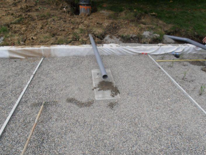 Tuyau de collecte et collecteur du filtre planté vertical vue de face